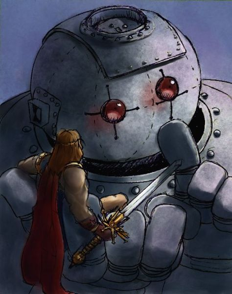 The Ancient Hero and the Robot by John Blackford